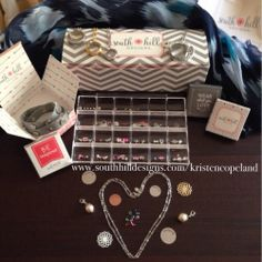It's here! My kit has arrived! Featuring South Hill's new wrap bracelet, all sizes of lockets, the facetted bead chain, screens, droplets, and a small sample of charms! I can't wait to help you create a locket of your own! Head over to https://www.facebook.com/southhillbykristencopeland and like my page for updates and Facebook contests or follow me on Instagram @southhilldesigns_by_kristenc to see my creations.  www.southhilldesigns.com/kristencopeland