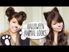 DIY Halloween Costume Ideas | Bear & Cat Ears Hairstyle & Makeup Tutorial - YouTube