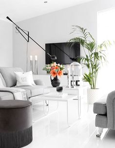 Light gray and white living room interior Living Room Interior, Home Interior Design, Interior Decorating, Inside A House, Black Lamps, Cozy House, My Dream Home, Living Spaces, House Design