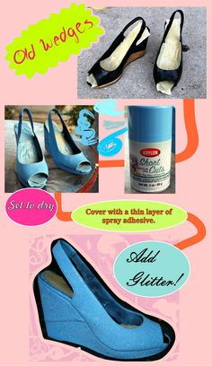 DIY Shoes - might try this with some old shoes :) Diy Clothes And Shoes, Diy Clothing, Cosplay Tutorial, Cosplay Diy, Diy Fashion, Fashion Shoes, Runway Fashion, Fashion Trends, Glitter Shoes