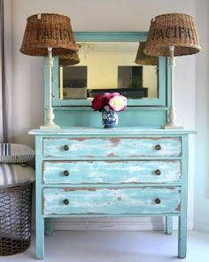 Distressed Painted Furniture Ideas for a Coastal Beach Look:http://www.completely-coastal.com/2013/04/distressed-painted-furniture-for-coastal-beach-look.html