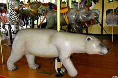 Polar bear merry-go-round animal on carousel at St. Louis Zoo. St Louis, MO.