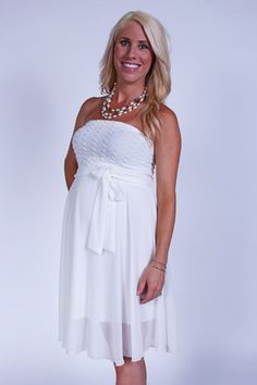 White Embroidered Maternity Strapless Dress - Heritwine Maternity