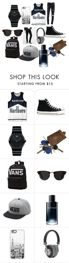 """""""Untitled #18"""" by selmiravehabovicc ❤ liked on Polyvore featuring Converse, Movado, Vans, Ace, Christian Dior, Casetify, Master & Dynamic, Express, men's fashion and menswear"""