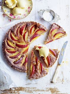 Plumb and almond tart