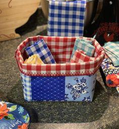 Kitchen Utensils, Kitchen Storage, Kitchen Ideas, Kitchen Decor, Pioneer Woman Kitchen, Pioneer Women, Fabric Basket, Rv Hacks, Red Gingham