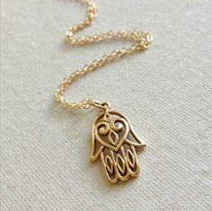 Gold Hamsa Hand Necklace Everyday Jewelry by anatoliantaledesign, $29.00