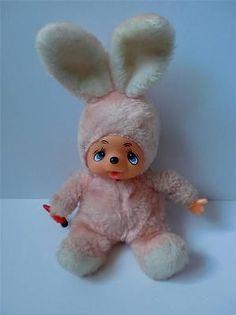 Vintage Monchhichi Thumb Sucking Russ Munchin Rabbit Plush Soft Toy Doll 1980s