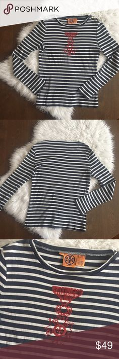 """Tory Burch Nautical Striped Long Sleeve Navy striped tee with red velvet nautical design. Gold Tory Burch logo buttons on Shoulder. Measurements (flat) : Underarm to underarm - 19"""", Shoulder to hem - 24"""", Sleeve - 26"""". Tory Burch Tops Tees - Long Sleeve"""