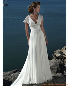 butterfly sleeve wedding dress | ... for Elegant Butterfly Sleeves V-Neck Chiffon Casual Wedding Dresses