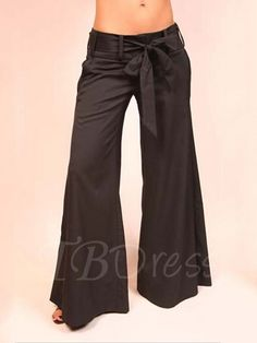 4b71d53c9b8 Tbdress.com offers high quality Black Dacron Lace-Up Palazzo Women s Pants  Casual Pants