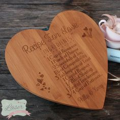 Laser Engraved Heart Bamboo Wooden Board by TheLaserBoutique