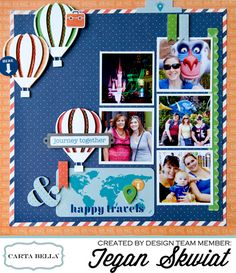 """A """"Travel Stories"""" layout by Tegan Skwiat for #cartabellapaper featuring """"designer dies"""" and hand stitching!"""