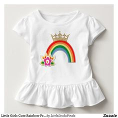 Little Girls Cute Rainbow Princess Ruffled Shirt. CLICK: http://www.zazzle.com/collections/princess_gifts_and_decor-119251322395124790 Bright happy rainbow with golden tiara crown. Choose from many different rainbow apparel. Lots more princess gifts here: http://www.Zazzle.com/LittleLindaPinda