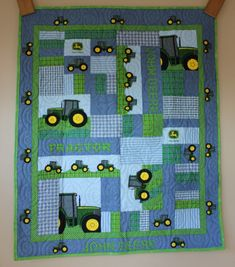 A personal favorite from my Etsy shop https://www.etsy.com/listing/610892201/john-deere-tractor-plaid-patch-quilt