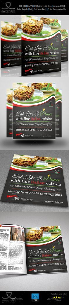 Buy Italian Food Restaurant Flyer by OWPictures on GraphicRiver. Flyer Description: Italian Food Restaurant Flyer was designed for exclusively corporate and small scale compan. Italian Food Restaurant, Restaurant Flyer, Pizza Restaurant, Restaurant Recipes, Restaurant Design, Pizza Flyer, Menu Flyer, Pizza Pizza, Food Promotion