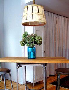 Bushel basket lamp from Erica Domesek. Find out how to make your own bushel basket lamp here http://www.designsponge.com/2010/11/diy-project-bushel-basket-lamp-from-erica-domesek.html