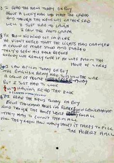 "John Lennon's handwritten manuscript of the lyrics to ""A Day in the Life"""