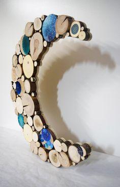 Blauer Mond aufgearbeiteten Holz Wand Skulptur Himmlische