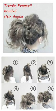 # Braids ponytail tutorial Trendy Ponytail Braided Hair Styles on We Heart It Work Hairstyles, Pretty Hairstyles, Braided Hairstyles, Lazy Girl Hairstyles, Wedding Hairstyles, Medium Hair Styles, Curly Hair Styles, Ponytail Styles, Braided Ponytail
