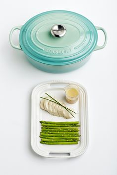 Le Creuset Cool Mint Signature Oval Casserole (Poached Chicken with Asparagus and Beurre Blanc)