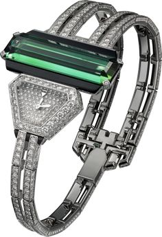 Cartier High Jewelry visible hour watch - Small model, rhodiumized 18K white gold, onyx, tourmaline, Diamonds.