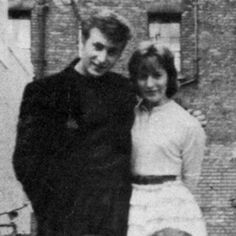 John Lennon and Cynthia Powell, later, Lennon--1958--they met in art college.
