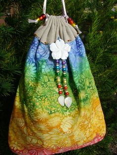 Rainbow Summer of Love large Double Drawstring by taosbagznbeadz, $60.00