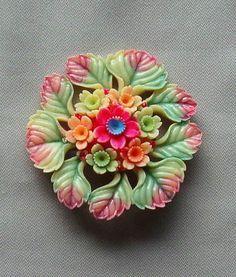 Deco Pastel MultiColor Celluloid Plastic Flower Pin