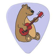 Funny Brown Bear Playing Guitar Guitar Pick