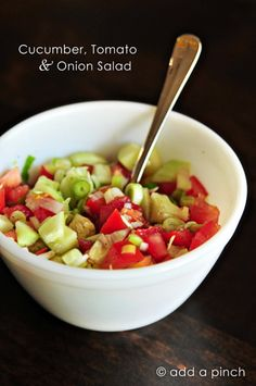 Cucumber, Tomato & Onion Salad Recipe - Cooking | Add a Pinch