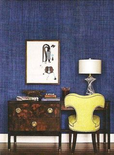 house and home office--mixed textures, blue grasscloth, tortoise desk, vintage chair, art Denim Wallpaper, Of Wallpaper, Textured Wallpaper, Seagrass Wallpaper, Blue Rooms, Blue Walls, Indigo Walls, Home Office, Office Decor