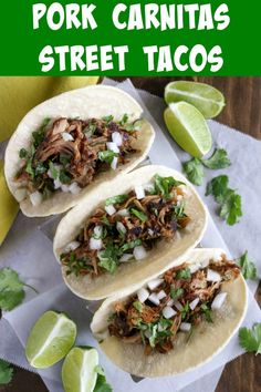 Pork Carnitas Street Tacos is a great way to feed a crowd. The incredibly tender pulled pork is well seasoned and charred at the end, and the tacos are garnished simply with onion and cilantro #streettacos #pork #porkcarnitas #pulledpork #porktacos #slowcookerpulledpork #slowcooker Best Pork Recipe, Pork Recipes, Slow Cooker Recipes, Mexican Food Recipes, Dinner Recipes, Cooking Recipes, Ethnic Recipes, Easy Cooking, Dinner Ideas
