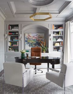 50 Home Offices That Maximize Creativity This grand home office beautifully blends old and new with traditional mouldings and an impressive desk, juxtaposed by a pair of modern, Lucite-framed chairs. Home Office Space, Home Office Decor, Home Decor, Office Ideas, Home Office Furniture Ideas, Modern Home Office Furniture, Den Decor, Office Inspo, Office Interior Design