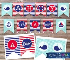 Printable Mini Party Package - Ahoy Its a Boy Nautical Theme Baby Shower