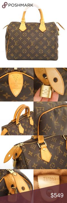 Louis Vuitton Speedy 25 Monogram Canvas Gorgeous Louis Vuitton Speedy 25. 100% authentic. Comes with the lock but no key and no dustbag. Date code shown in photos. Overall very good condition with some minor wear. Please see the last photo. There is a small amount of white spots near the bottom lower corner, the handle patina is starting to darken, one spot in the fabric interior. Still overall great bag. See the photos and feel free to ask questions. :) Louis Vuitton Bags Satchels