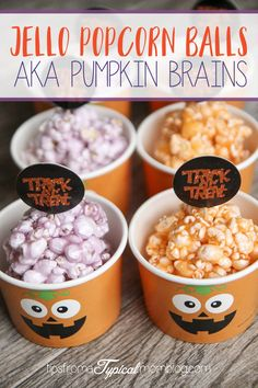 Jello Popcorn Balls AKA Pumpkin Brains plus 30 Days of Halloween Recipes from the Best Bloggers!