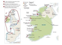 Map of Spanish Armada shipwrecks in Ireland (Europe, Ireland, Spain)