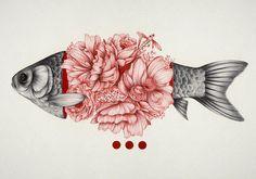 Flowered Fishes - Creative Illustrations by The Withe Deer - be artist be art Magazine Art Inspo, Kunst Inspo, Inspiration Art, Art And Illustration, Flower Illustrations, Black And White Illustration, Creation Art, Art Graphique, Art Design