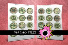 """Green Floral Pottery Collage Sheet - 2"""" Circles Rounds for Pendants - Printable Collage Sheet - Digital Printable Circles - Green & Red"""