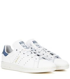Adidas - Stan Smith leather sneakers - We love Adidas's Stan Smith sneakers, updated with smooth white leather and blue suede accents for a modern twist on the retro vibe. They'll fast become your ultimate statement sneakers. seen @ www.mytheresa.com