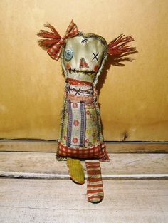 Handmade Art Doll  Rag Doll Thimble by JunkerJane