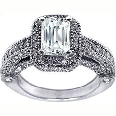 Emerald Cut Diamond Legacy Style Engagement Ring in 14K white gold 0.95tcw.