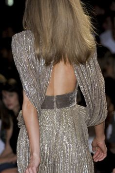 insanely gorgeous!! runway haute couture | beaded batwing gown with open back and velvet grey sash detail waist | backless | grey beaded dress