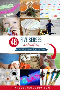 Explore touch, sound, smell, sight and taste activities with these 48 simple sensory activities for toddlers and preschoolers to do at home. Senses Activities, Sensory Activities Toddlers, Gross Motor Activities, Outdoor Activities For Kids, Kids Learning Activities, Hands On Activities, Teaching Kids, Sensory Play, Baby Sensory