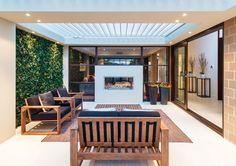 EcoSmart Fire Firebox installation by Scott Salisbury Homes, South Australia Outdoor Living Rooms, Outdoor Dining Chairs, Outdoor Decor, Outdoor Furniture, Salisbury Homes, Outdoor Pavillion, Rental Decorating, Decorating Tips, Alfresco Area
