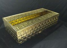 Tissue Box Cover GOLD TONE METAL basket weave wicker style Linnes'n Thing…