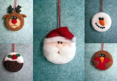 Christmas tree decorations, Santa, Reindeer, Robin, Snowman and Christmas Pudding all needle felted in the finest Merino wool.  Hand crafted with