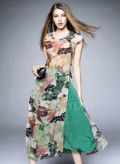 Dresses - $59.99 - Polyester Floral Short Sleeve Mid-Calf Vintage Dresses (1955102641)