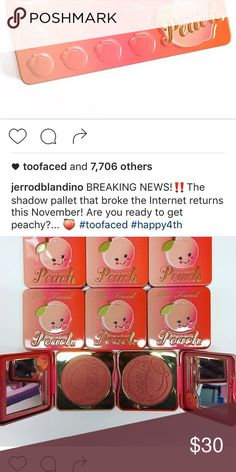 Peach palette PLEASE READ DONT PURCHASE The owner of Too Faced is permanently bringing these palettes back. Don't bother paying outrageous prices because they're being released for good in November. His name is in the photo so you can see for yourself. He's also bringing another peach accessory to sale as in the second photo. Thanks guys ! Be aware! Too Faced Makeup